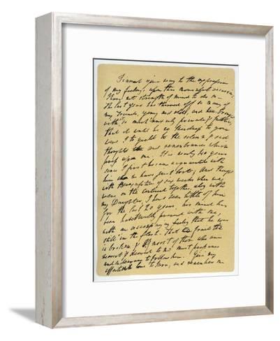 Letter from William Wordsworth on the Death of Samuel Taylor Coleridge, 29th July 1834-William Wordsworth-Framed Art Print