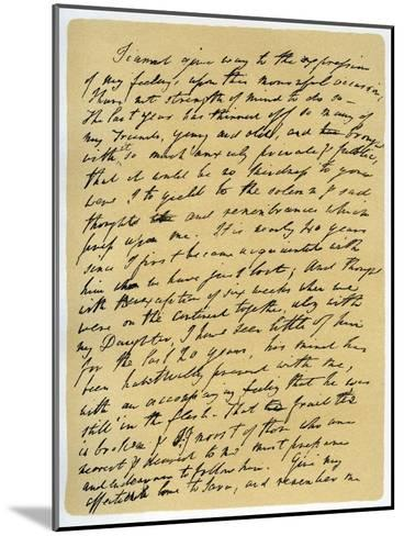 Letter from William Wordsworth on the Death of Samuel Taylor Coleridge, 29th July 1834-William Wordsworth-Mounted Giclee Print