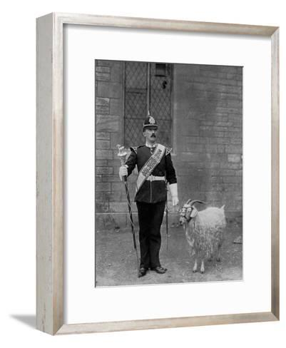 The Drum Major and Goat of the 1st Battalion the Welch Regiment, 1896-WM Crockett-Framed Art Print