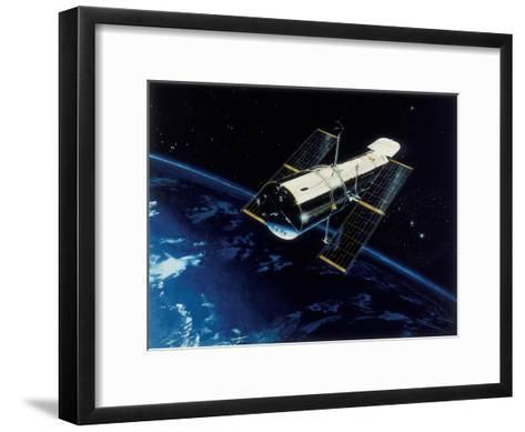 Hubble Space Telescope in Orbit, 1980S--Framed Art Print