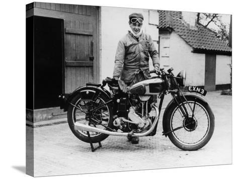 Donald Campbell Outside a Garage at Headley Grove, Surrey, 1938--Stretched Canvas Print