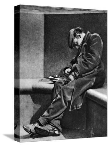 A Man Sleeping on Blackfriars Bridge, London, 1926-1927-Walter Benington-Stretched Canvas Print