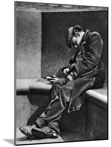 A Man Sleeping on Blackfriars Bridge, London, 1926-1927-Walter Benington-Mounted Giclee Print