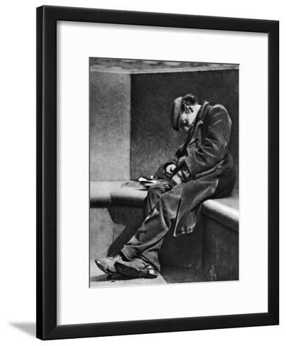 A Man Sleeping on Blackfriars Bridge, London, 1926-1927-Walter Benington-Framed Art Print