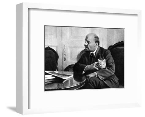 Russian Bolshevik Leader Vladimir Ilich Lenin in His Kremlin Appartment, Moscow, Russia, 1920--Framed Art Print