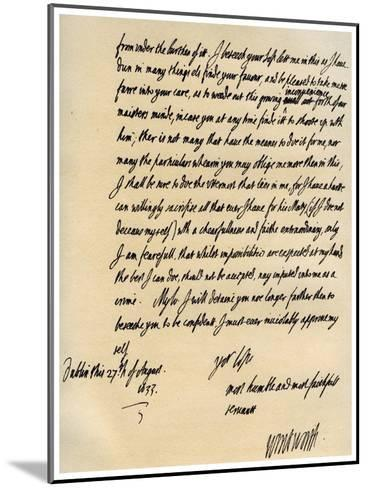 Letter from Viscount Thomas Wentworth to James Hay, 27th August 1633-Thomas Wentworth-Mounted Giclee Print