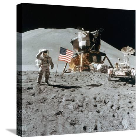 Astronaut James Irwin (1930-199) Gives a Salute on the Moon, 1971--Stretched Canvas Print