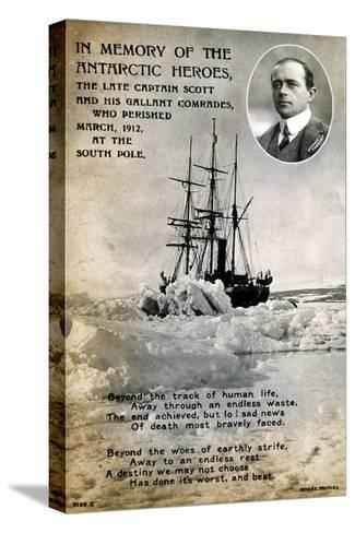 Postcard Commemorating Captain Scott's Ill-Fated Expedition to the South Pole, C1912--Stretched Canvas Print