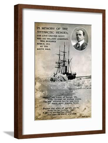 Postcard Commemorating Captain Scott's Ill-Fated Expedition to the South Pole, C1912--Framed Art Print