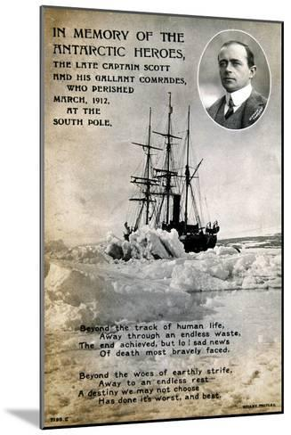 Postcard Commemorating Captain Scott's Ill-Fated Expedition to the South Pole, C1912--Mounted Giclee Print