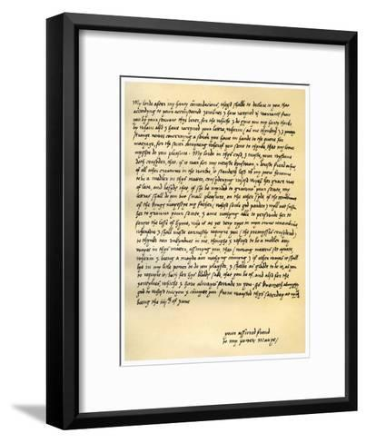 Letter from Queen Mary I to Lord Seymour of Sudeley, 4th June 1547--Framed Art Print