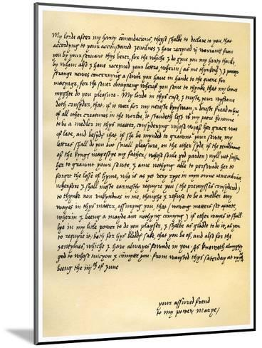 Letter from Queen Mary I to Lord Seymour of Sudeley, 4th June 1547--Mounted Giclee Print