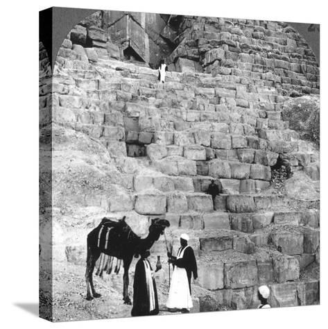Entrance to the Great Pyramid of Giza, Egypt, 1905-Underwood & Underwood-Stretched Canvas Print