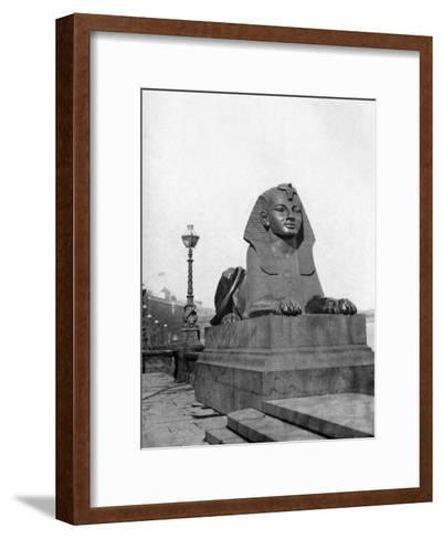 One of the Sphinxes, Victoria Embankment, London, 1924-1926--Framed Art Print