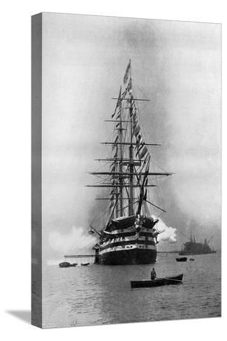 HMS Duke of Wellington Firing a Royal Salute as Flagship at Portsmouth, Hampshire, 1896-Symonds & Co-Stretched Canvas Print