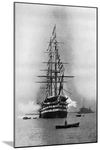 HMS Duke of Wellington Firing a Royal Salute as Flagship at Portsmouth, Hampshire, 1896-Symonds & Co-Mounted Giclee Print