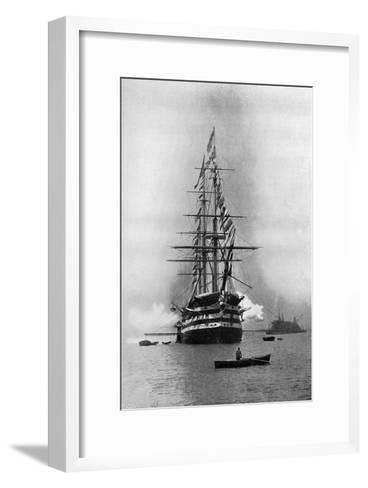 HMS Duke of Wellington Firing a Royal Salute as Flagship at Portsmouth, Hampshire, 1896-Symonds & Co-Framed Art Print