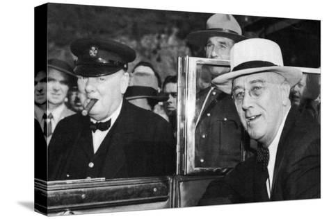 Franklin D Roosevelt and Winston Churchill Meeting in Quebec, Canada, 1944--Stretched Canvas Print