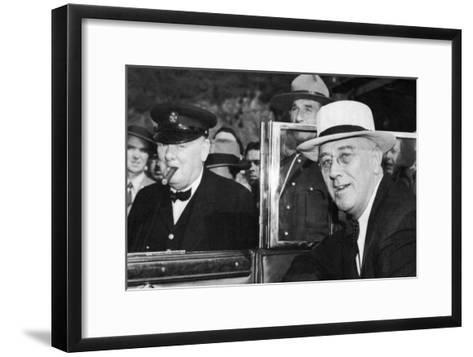 Franklin D Roosevelt and Winston Churchill Meeting in Quebec, Canada, 1944--Framed Art Print