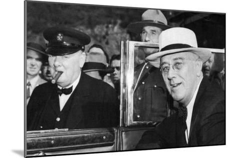 Franklin D Roosevelt and Winston Churchill Meeting in Quebec, Canada, 1944--Mounted Giclee Print