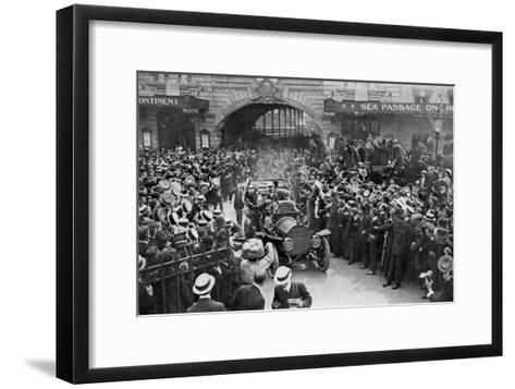 Louis Blériot on His Way to the Savoy Hotel, London, 25 July 1909--Framed Art Print