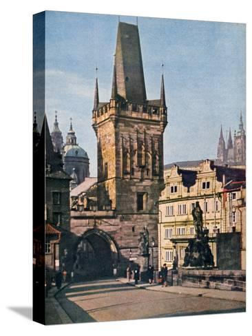 The Old Town End of the King Charles Bridge, Prague, Czech Republic, 1943--Stretched Canvas Print
