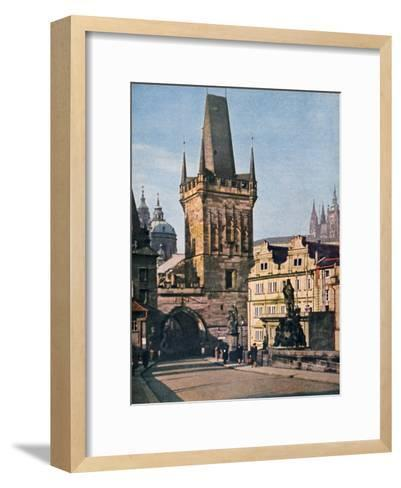 The Old Town End of the King Charles Bridge, Prague, Czech Republic, 1943--Framed Art Print
