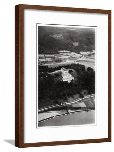 Aerial View of the Walhalla Temple, Near Regensburg, Germany, from a Zeppelin, C1931--Framed Art Print