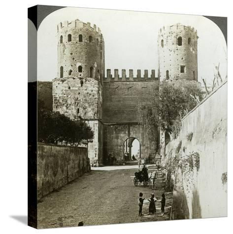 Gate of St Sebastian in the Aurelian Wall, Rome, Italy-Underwood & Underwood-Stretched Canvas Print