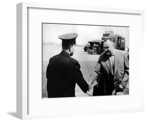 Russian Cosmonaut Yuri Gagarin and Rocket Engineer Sergey Korolyov, 1961--Framed Art Print
