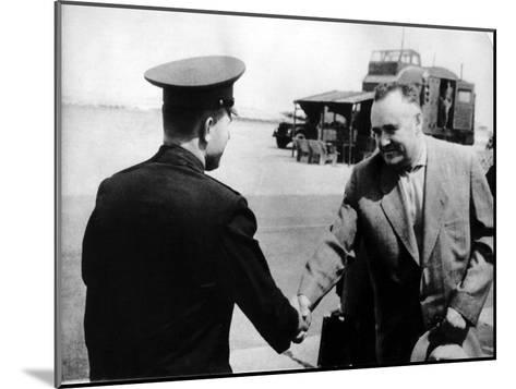Russian Cosmonaut Yuri Gagarin and Rocket Engineer Sergey Korolyov, 1961--Mounted Giclee Print