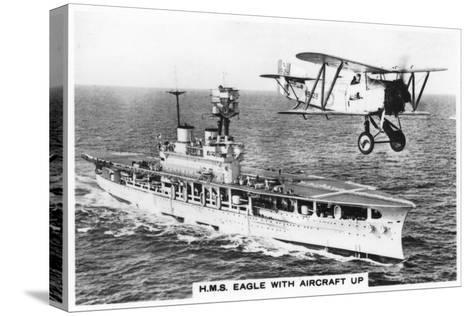 The Aircraft Carrier HMS 'Eagle' and a Fairey Flycatcher Aircraft--Stretched Canvas Print