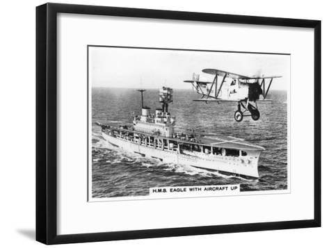 The Aircraft Carrier HMS 'Eagle' and a Fairey Flycatcher Aircraft--Framed Art Print