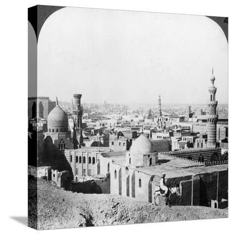 Cairo, Looking South West, across the City to the Pyramids, Egypt, 1905-Underwood & Underwood-Stretched Canvas Print