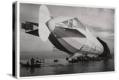 Lz 6 Entering a Floating Hanger, Halle, Germany, C1909-1910--Stretched Canvas Print