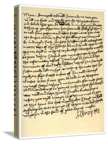 Letter from Henry VIII to Cardinal Wolsey, C1518--Stretched Canvas Print