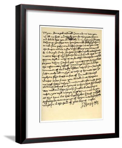 Letter from Henry VIII to Cardinal Wolsey, C1518--Framed Art Print