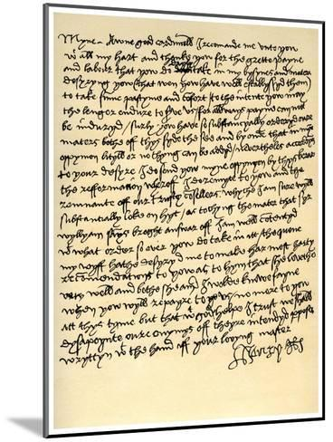 Letter from Henry VIII to Cardinal Wolsey, C1518--Mounted Giclee Print