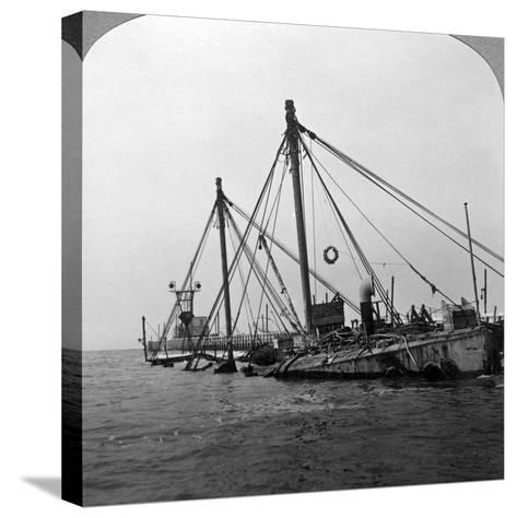 Sunken Warship HMS 'Vindictive, Ostend, Belgium, World War I, 1918--Stretched Canvas Print