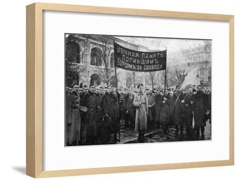 A Mourning Ceremony for Victims of the February Revolution, Russia, 1917--Framed Art Print