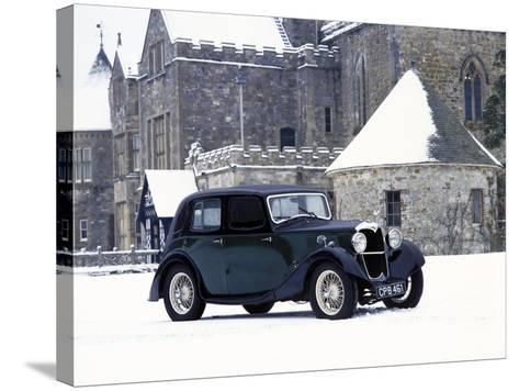 A 1934 Riley Falcon in the Snow--Stretched Canvas Print