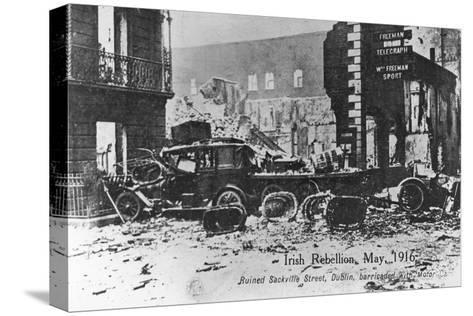 Barricade of Cars, Anti-English Irish Uprising, Dublin, May 1916--Stretched Canvas Print