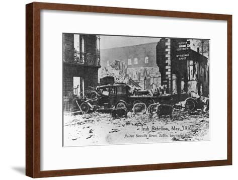 Barricade of Cars, Anti-English Irish Uprising, Dublin, May 1916--Framed Art Print