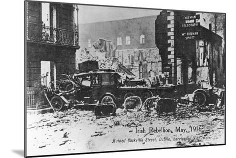Barricade of Cars, Anti-English Irish Uprising, Dublin, May 1916--Mounted Giclee Print