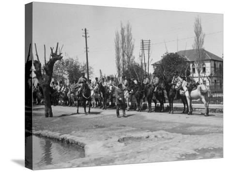Officer Inspecting a Mounted Detatchment of the French Foreign Legion, Syria, 20th Century--Stretched Canvas Print