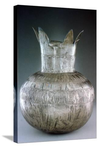 Silver Pomegranate Vase, from Tutankhamun's Tomb, 14th Century Bc--Stretched Canvas Print