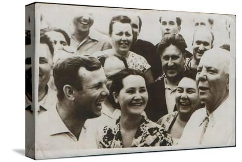Russian Cosmonaut Yuri Gagarin with His Wife, 1962--Stretched Canvas Print