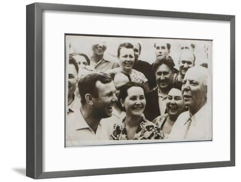Russian Cosmonaut Yuri Gagarin with His Wife, 1962--Framed Art Print