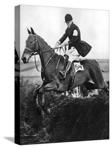 The Prince of Wales Taking a Fence in the Bridge of Guards Challenge Cup Race, C1930S--Stretched Canvas Print