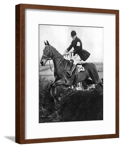 The Prince of Wales Taking a Fence in the Bridge of Guards Challenge Cup Race, C1930S--Framed Art Print